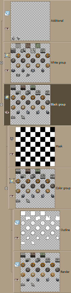 The layer setup for retouching 2D tile rendering 2D tile rendering image5